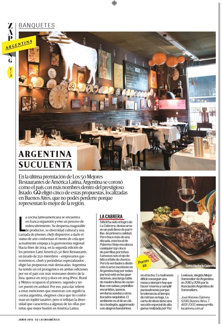 GQ destaca a La Cabrera como la mejor parrilla argentina