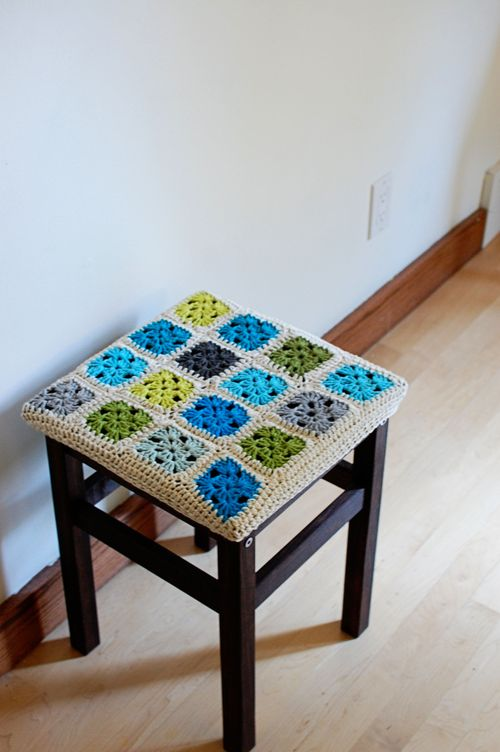 granny square, crochet, cover, stool, uncinetto, coprisgabello, quadrati, schema, free pattern