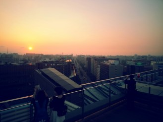 Sunset from JR Hakata Station's rooftop