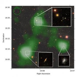 Ilustración de las masas de gases detectados por el Radiotelescopio de Arecibo.