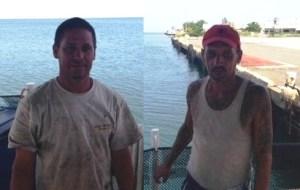 Carlos Ríos Pérez y Miguel Nieves Varela fueron rescatados por los guardacostas. (Foto Ricardo Castrodad del Coast Guard.)