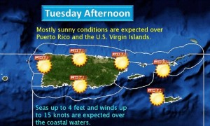 Pronóstico de la temperatura para el martes en la tarde (Servicio Nacional de Meteorología).