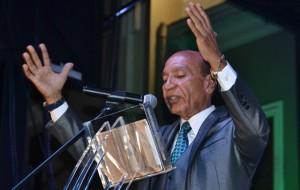 El alcalde Carlos Méndez durante su mensaje de presupuesto (Suministrada).