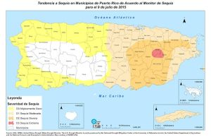 Mapa de tendencia a sequía en los municipios de Puerto Rico al 9 de julio de 2015 (Suministrado DRNA).