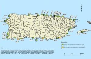 """Mapa publicado el 8 de julio por la Junta de Calidad Ambiental sobre la calidad de agua en las playas de la Isla. Haga """"click"""" para agrandar la imagen (Suministrada JCA)."""