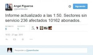 Captura de pantalla del mensaje de Twitter del presidente de la UTIER, Angel Figueroa Jaramillo.