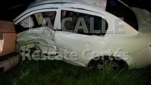 Condición en el quedó el carro de la víctima (Foto Rescate Cortés).