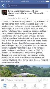 Mensaje de David López Morales en su cuenta de Facebook (Captura de pantalla).