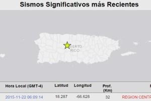 Mapa que marca el epicentro del temblor sentido el domingo en la mañana en Puerto Rico (Fuente Red Sísmica de Puerto Rico).