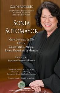 Afiche oficial de la visita de la juez Sonia Sotomayor al RUM (Suministrado).