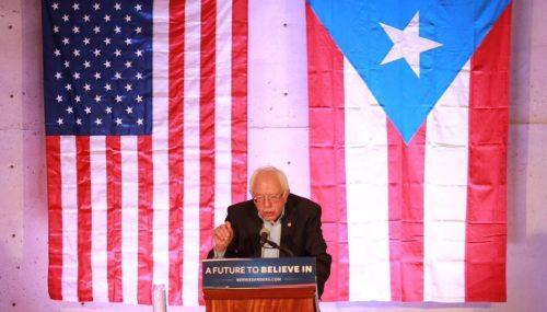 El aspirante demócrata a la presidencia de los Estados Unidos, senador Bernie Sanders, durante su reciente visita a Puerto Rico.