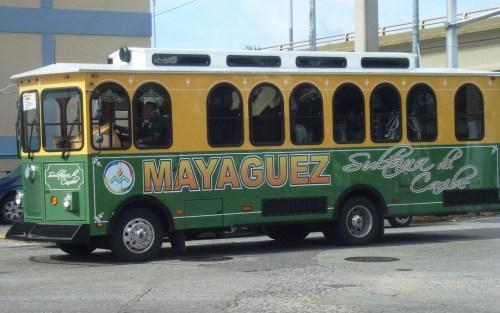 Uno de los vehículos de transporte colectivo de Mayagüez (Archivo).