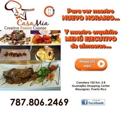 Casa Mia nuevo menu y horarios link