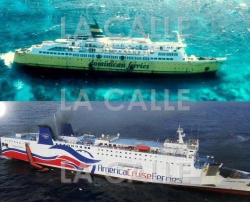 Arriba: El ferry A. Regina, encallado frente a la isla de Mona en febrero de 1985. Abajo: El ferry Caribbean Fantasy, incendiado el miércoles frente a las costas de San Juan.