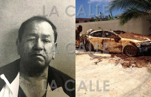 """Foto de la ficha del comerciante William """"Willy"""" Sánchez Cortés y del carro que tenía enterrado en el patio de su casa (Suministradas Policía)."""