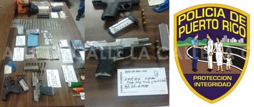 Drogas y armas ocupadas durante el registro (Suministradas Policía).