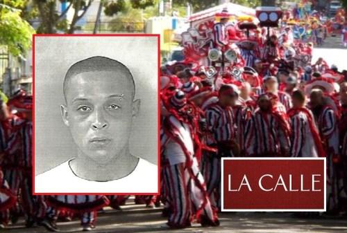 En el recuadro, la foto de la ficha de César Jiménez Feliciano, arrestado por violencia doméstica en medio de las celebraciones (Fotomontaje LA CALLE Digital).