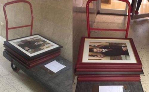 Este era el panorama en una de las agencias gubernamentales durante el recogido de las fotos del gobernador saliente García Padilla (Suministradas/Carol Almodóvar).