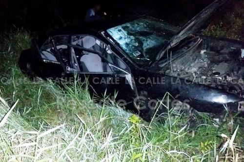 Escena del accidente ocurrido esta madrugada en Aguada (Foto Rescate Cortés).