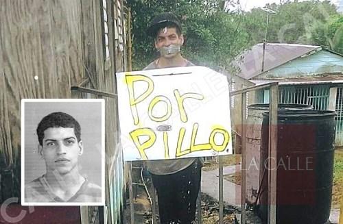 """Nelson Ortiz Núñez, alias """"Chocky"""", tras ser atado a la verja. En recuadro, una foto de ficha policíaca por un caso previo."""