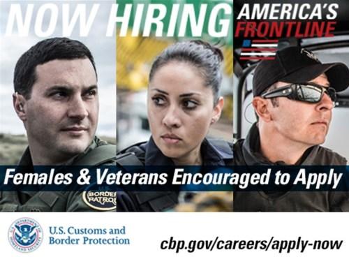 Promoción para el reclutamiento de agentes y oficiales por el CBP (Suministrada).