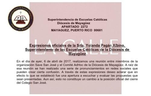 Expresiones hechas por la superintendente de Colegios Católicos de la Diócesis de Mayagüez.
