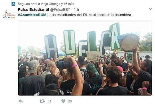 Mensaje de Twitter de Pulso Estudiantil anunciando el final de la asamblea estudiantil en Mayagüez (Captura de pantalla).