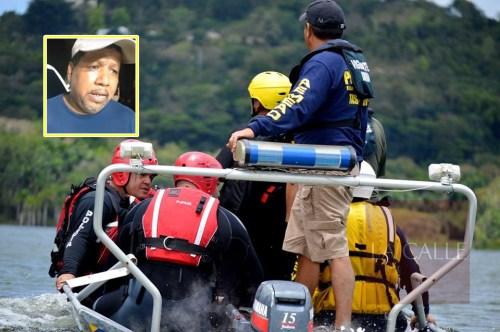 Buzos de la Policía y parte del personal de Manejo de Emergencias que participó en la búsqueda. En el recuadro, Nino Correa, coordinador de Búsqueda y Rescate de la AEMEAD (Foto/Municipio de San Sebastián).