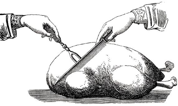 Tranchieren einer gebratenen Gans - zu: Kastration