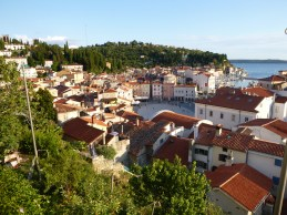Looking down at Piran, Slovenia.