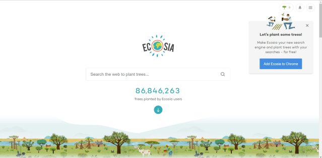 plant trees searching on the web Ecosia