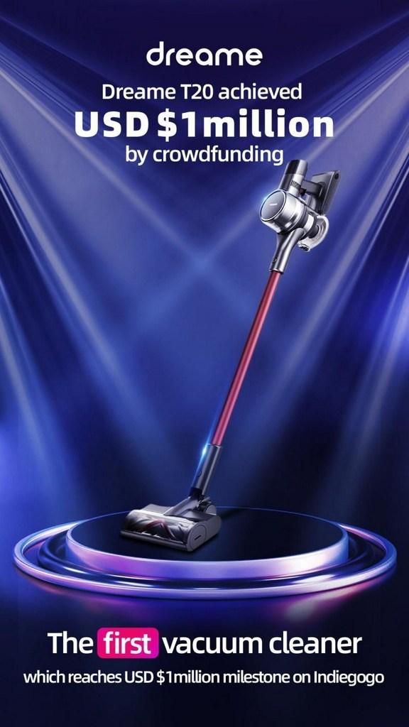 Dreame Technology recauda más de un millón de dólares para la aspiradora sin cable T20