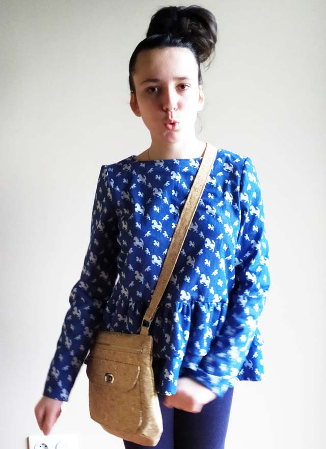 Polka bag worn over an Ethel blouse