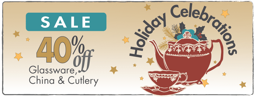 Holiday Celebrations Sale banner with teapot and cup