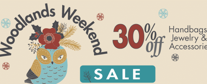 Woodland Weekend 30%off Salebanner with country owl