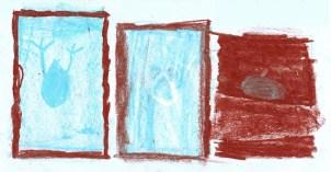 Dibujo de Sole sobre el texto de Cortázar 'Aplastamiento de las gotas'.