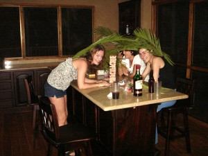 Jenga party - with palm fronds!
