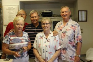 A roast chicken lunch was served to more than 250 residents.  Pictured are the cooking team of Dottie and Tony Frieler, and Jean and Harry Coutts, with Activity Board president Tim Davis.