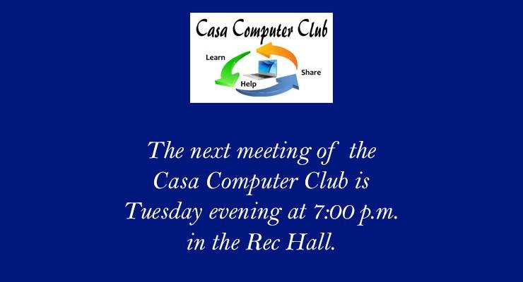 Computer Club Meeting – April 16, 2009