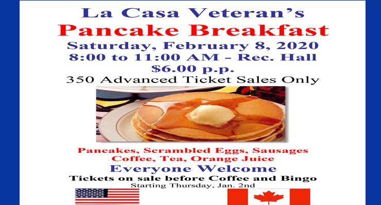 2020 Vets Pancake Breakfast – Feb 8, 2020