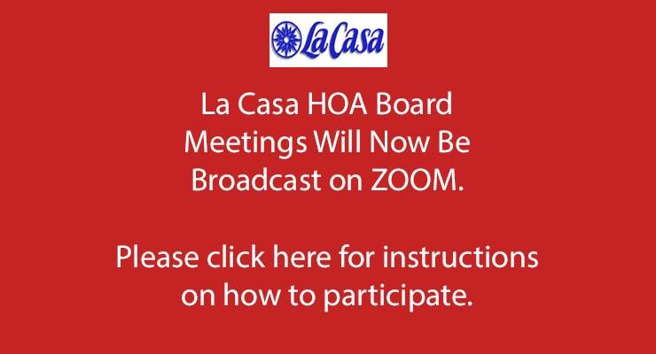 HOA Board Meetings via ZOOM