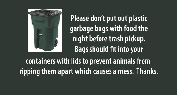 Trash Bag Notice – May 13, 2021