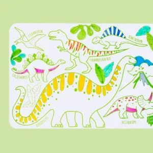Mini Playmat DINO super petit coloriage set a colorier set de table silicone