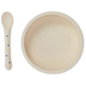 assiette bol et cuillère. silicone ventouse konges slojd