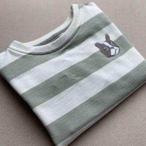 Sweat-shirt chien à rayure brodé vêtement bébé, vêtement enfant coton bio