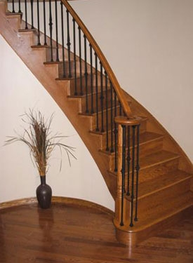 Red Oak Stair Treads Mississauga Ontario Custom Home   Red Oak Stair Railing   Inside   2 Tone   Beautiful   Color   Two Toned
