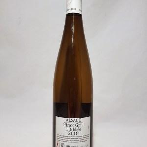 Pinot gris Alsace cuvée L'oubliée 2018 Sans sulfites ajoutés BIO
