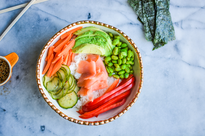 Heathy and Colorful Sushi Bowl