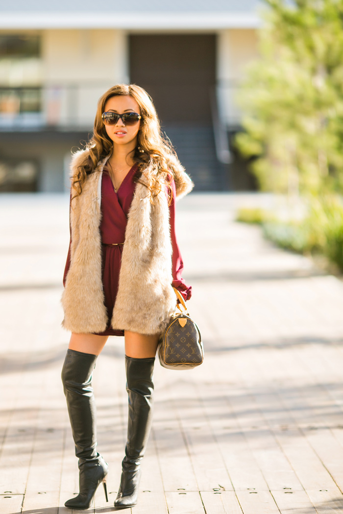 fashion blogger, kim le blog, kim le and jason, newlyweds blog, fashion blog, petite fashion blog, fashionista, engagement photos, kim le engaged, lace and locks, style blog, couples blog, brooklyn harper, faux fur vest, nine west boots, louis vuitton speedy