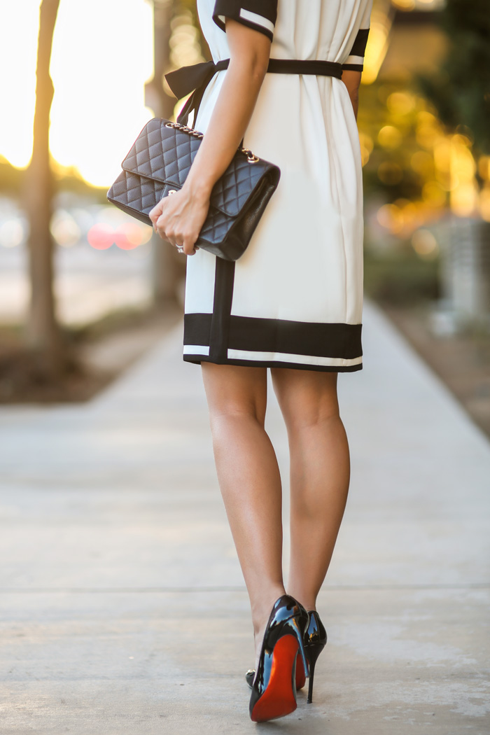 fashion blogger, winter white fashion, petite fashion blog, fashionista, lace and locks, los angeles fashion blogger, ann taylor petites, dress, chanel handbag, outfit of the day, christian louboutin shoes